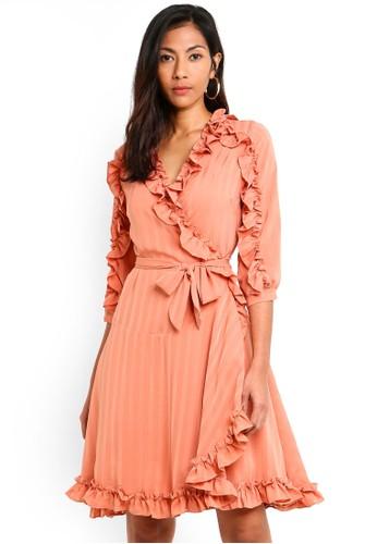 Megane orange Red Romance Amarante Ruffle Hem Wrap Dress F7BE9AA7CA147DGS_1