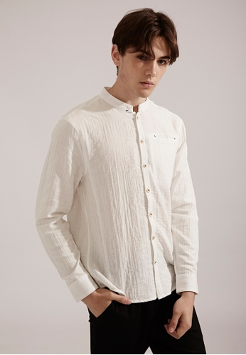 Life8 white Casual Changeable Collar Long-Sleeved Shirts-03851-White LI283AA0FFGMSG_1