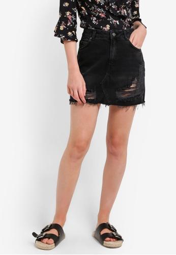 TOPSHOP black Moto Ripped Denim Mini Skirt TO412AA56GXRMY_1