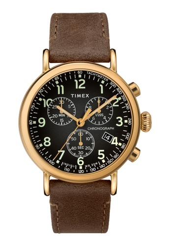 Timex black and brown and gold Timex Standard Chrono 41mm - Gold-Tone Case, Brown Strap (TW2T20900) 4DEFCAC12C5BF3GS_1