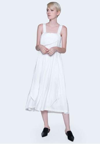 SALIENT LABEL white Mizuki Pleated Long Straps Midi Dress in Bright White 886ECAA14AB57AGS_1