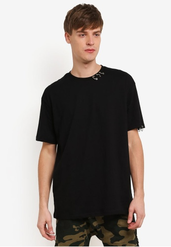 Flesh IMP black Round Ring Box Cut T-Shirt FL064AA0RTOKMY_1