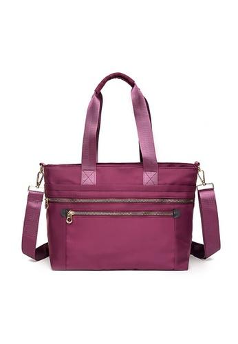 Lara purple Women's Oxford Cloth Multi-pockets Zipper Handbag Shoulder Bag - Purple 37241AC653E770GS_1