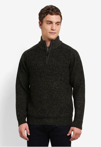 Burton Menswear London green Khaki Half Zip Knitted Jumper BU964AA0S5MIMY_1