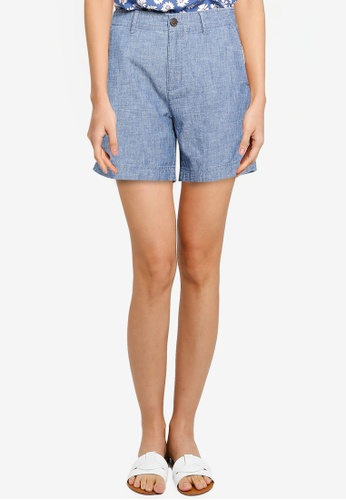 GAP blue V-5 In Chambray Shorts 9F6A8AA515B3C4GS_1