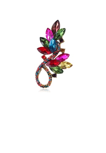 Glamorousky silver Fashion and Elegant Plated Gold Color Geometric Flower Brooch with Cubic Zirconia 275FAACA38D68DGS_1