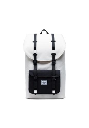 Herschel black and white and multi Herschel Unisex Little America Backpack Blanc De Blanc Ripstop/Black - 25L BBCCAACDD54C33GS_1