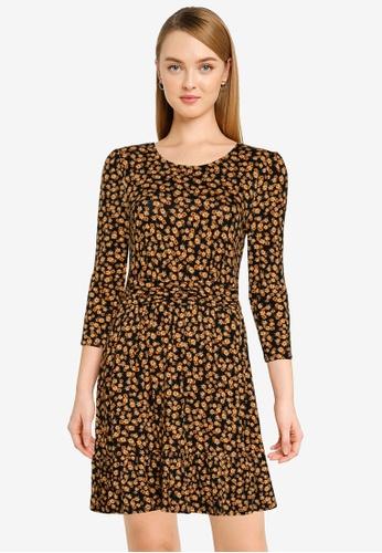 Dorothy Perkins orange Ochre Ruched Waist Dress 08D66AA6D21462GS_1