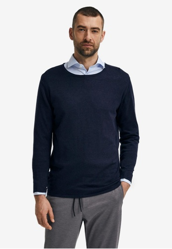Selected Homme navy Rome Long Sleeves Pullover 5DCBFAA5C40F5DGS_1