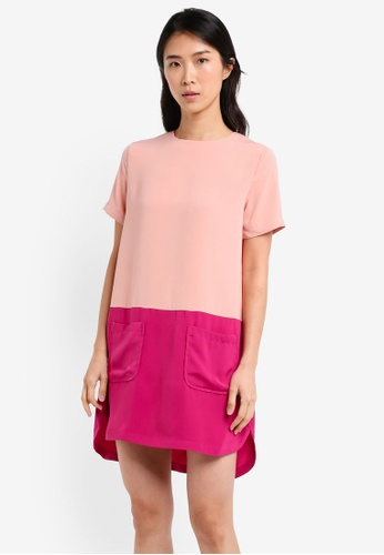 ZALORA pink and multi Colorblock Patch Pocket Dress CA259AA1B3CB52GS_1