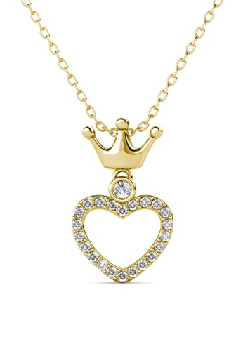 Her Jewellery gold Princess Crown Pendant (Yellow Gold) - Made with premium grade crystals from Austria 92236AC6596857GS_1