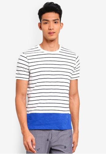 Brooks Brothers 白色 撞色條紋T恤 1A18EAA42D7945GS_1