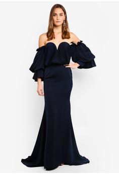 d6344438005 Elle Zeitoune navy Satin Dress With Off Shoulder Oversized Belle Sleeves  398F5AA0E82EBAGS 1