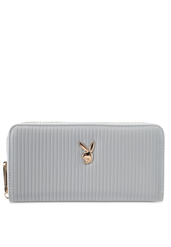 PLAYBOY BUNNY grey Playboy Bunny Long Zip Purse PL604AC0SKNGMY_1