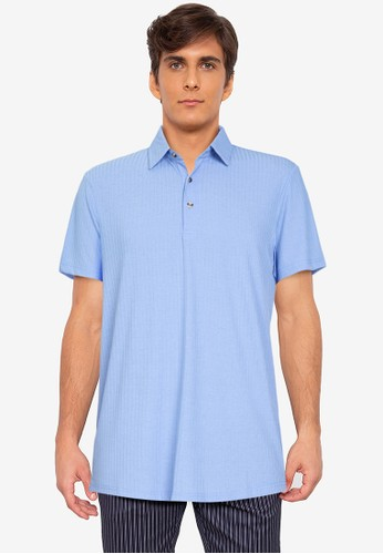 ZALORA BASICS blue Textured Polo Shirt 42C48AA1F08D17GS_1