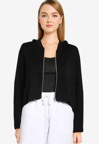 Cotton On black Fitted Rib Zip Cardigan 144FEAA12682A5GS_1