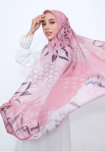 Harra Scarves pink and multi Dahlia Series - Rouge 85214AA3E31E5CGS_1