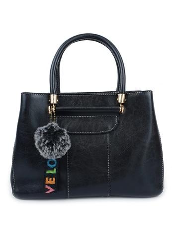 BELLE LIZ black Fashionable Love PU Handbag Black 7BFAAACFD72E6EGS_1