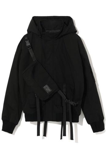 Fivecm black Hooded jacket with detachable waist bag 44FE5AA16D8ADFGS_1