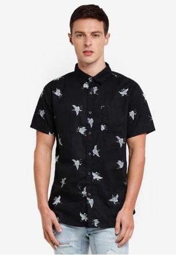 Cotton On 黑色 復古短袖襯衫 C40C7AA511AD83GS_1