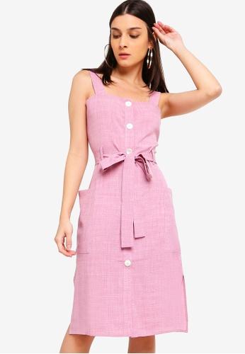 ZALORA 粉紅色 Button Down Midi Dress 8EA35AA715BCF8GS_1