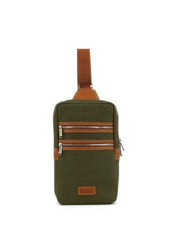 Kawamura green Lotuff Leather & Waxed Canvas Sling Bag KA871AC64IMDHK_1