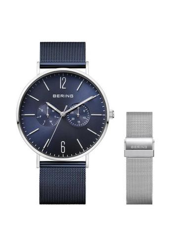 Bering silver Classic 14240-307 Blue 40 mm Men's Watch 66EECACD190E14GS_1