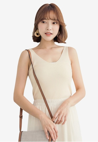 Tokichoi beige Ribbed Knit Tank Top 38BCDAAB26AAA8GS_1