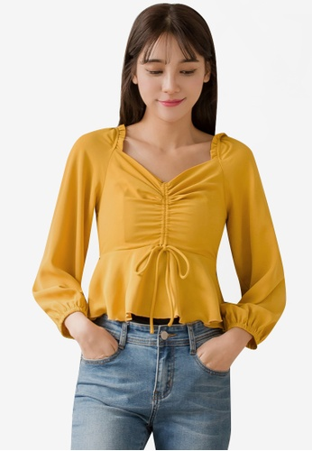 e901eb9ae935a Tokichoi yellow V-Neck Knot Front Tie Puff Sleeves Top 34717AAB889E4AGS 1