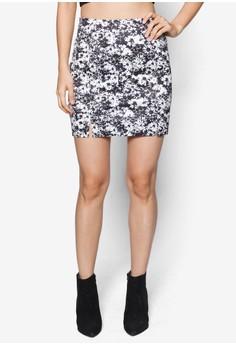 Love Printed Mini Skirt With Slit