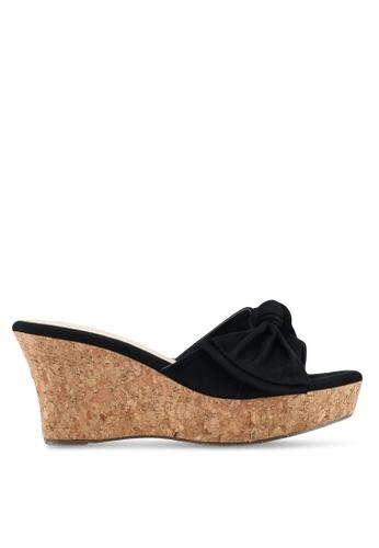 Bata 黑色 軟木扭結楔型鞋 BAA1CSH6B90CC1GS_1