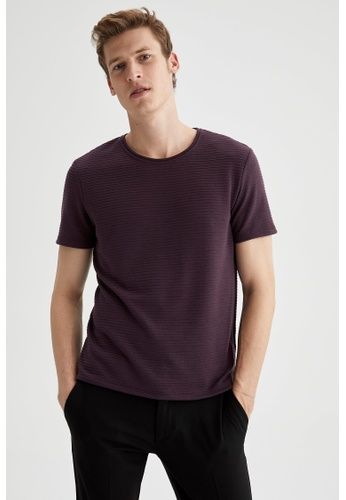 DeFacto purple Man Knitted Plain T-Shirt 0FFEBAA9752780GS_1
