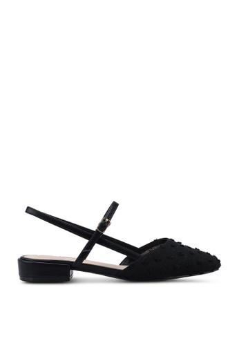 Kimmijim black Regana Square Toe Slingback Block Heels 87822SHC205392GS_1