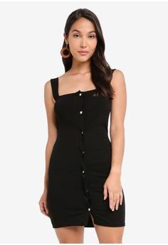 e6ca1ee33785 Boohoo black Popper Front Square Neck Bodycon Dress 88983AAFFD1E66GS_1