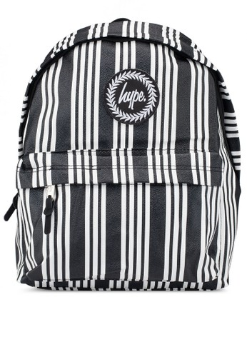Just Hype black and white Vinyl Stripe Backpack F0050AC87CAAF6GS_1