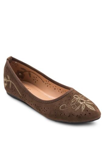 刺繡圖案尖頭平底鞋, esprit outlet台北女鞋, 鞋