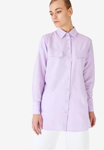 Trendyol 紫色 Shirt Collar Pocket Tunic 76FDBAA7FDA454GS_1