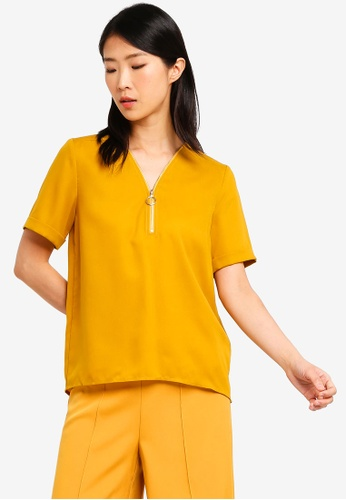 ZALORA BASICS yellow Basic Zipper Short Sleeves Top 544FFAA0D12BB2GS_1