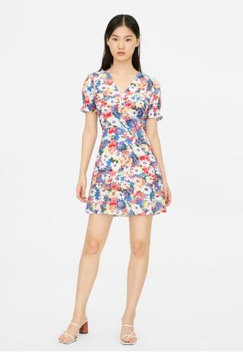Pomelo multi Mini Surplice Floral Dress - Multi Color DA15BAA3530D51GS_1