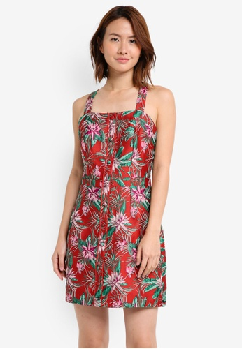 ZALORA red Studio Pinafore Dress 7E03CAAE82AC36GS_1