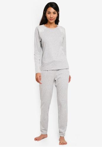UniqTee grey Lace Trim Pajama Set 83FA5AA6B72A63GS_1