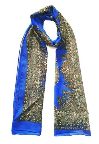 San Marco blue and beige Victorian Silk-Feel Scarf Beige On Blue E2409AA6F3FD08GS_1