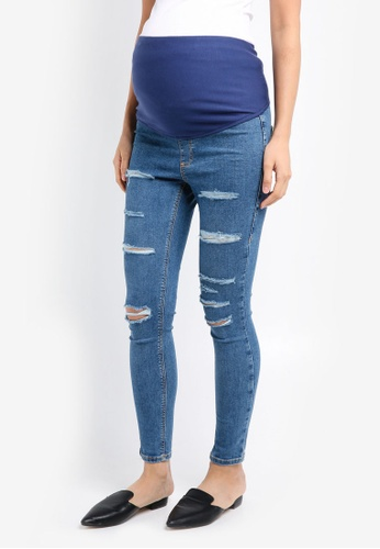 TOPSHOP blue Maternity Super Rip Over The Bump Skinny Joni Jeans TO412AA0SRSPMY_1
