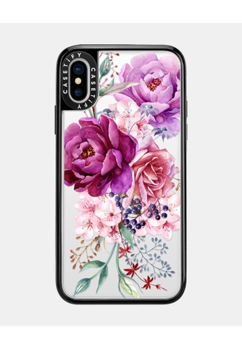 Casetify black and multi Purple Peony Watercolour Classic Grip Case for iPhone XS - Black CF29DACD253829GS_1