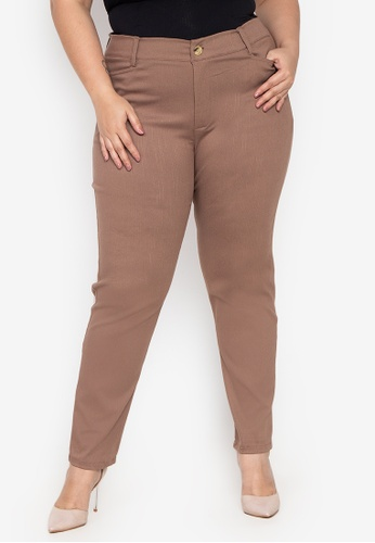 D Fashion Engineer brown Wear-to-Work Plus Size Stretch Pants 35861AAE1D8936GS_1