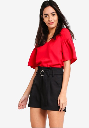 ZALORA red Flare Sleeves Blouse 7B633AA065BC04GS_1