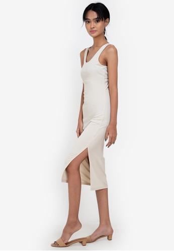 ZALORA BASICS beige Twist Back Dress D7D91AA5ADFCF6GS_1