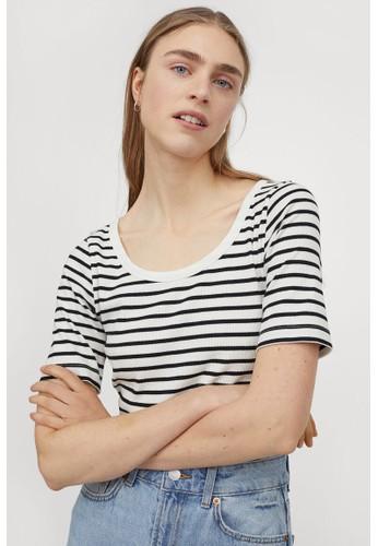 H&M white Ribbed T-shirt 98B08AAB6E9B01GS_1