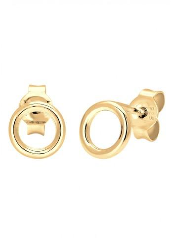 Elli Germany gold Perhiasan Wanita Perak Asli - Silver Anting Stud Round Gold Plated EL948AC22MDPID_1