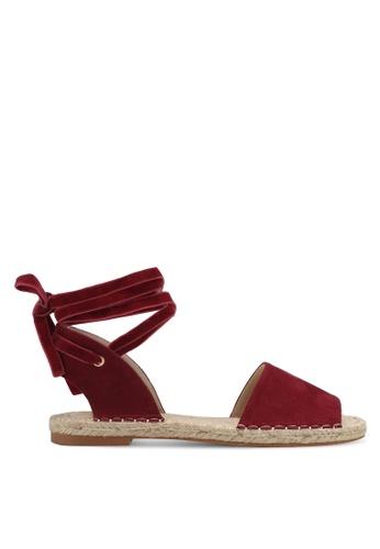 ZALORA red Tie-Up Espadrille Sandals 42B7CSH54D26D1GS_1